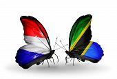 picture of holland flag  - Two butterflies with flags on wings as symbol of relations Holland and Tanzania - JPG