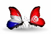 foto of holland flag  - Two butterflies with flags on wings as symbol of relations Holland and Tunisia - JPG