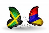 pic of armenia  - Two butterflies with flags on wings as symbol of relations Jamaica and Armenia - JPG