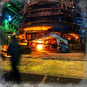 foto of blast-furnace  - metallurgical blast furnaces iron production industrial background - JPG