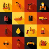 pic of petroleum  - Oil industry gasoline petroleum processing icons flat set isolated vector illustration - JPG
