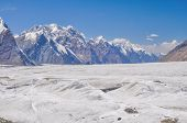 foto of shan  - Scenic landscape on Engilchek glacier in Tian Shan mountain range in Kyrgyzstan - JPG