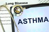 picture of asthma  - Tablet with word Asthma and stethoscope - JPG