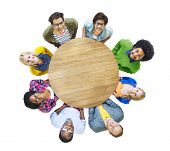picture of cheer-up  - Aerial View Cheerful People Looking Up Conference Table - JPG