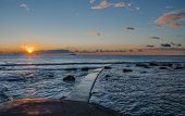 picture of leghorn  - Panoramic sunset on the Tuscany sea in front of Leghorn