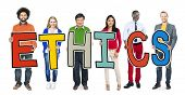 stock photo of ethics  - Group of Diverse People Holding Ethics - JPG