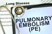 foto of respiratory disease  - Tablet with word Pulmonary embolism  - JPG
