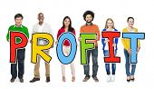 pic of profit  - Multiethnic Group of People Holding Letter Profit - JPG