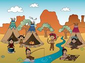 stock photo of peace-pipe  - a illustration of american indian village cartoon - JPG