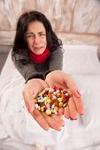 stock photo of sneezing  - Sneezing woman - JPG
