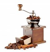 image of wooden box from coffee mill  - Wooden coffee grinder with beans and cinnamon isolated on white background - JPG