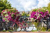 pic of population  - Bicycles on a bridge over the canals of Amsterdam - JPG