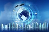 foto of gps  - Conceptual image of Global Positioning System GPS with futuristic city background - JPG