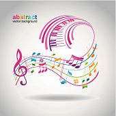 image of rainbow piano  - Colorful music background - JPG