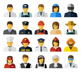 picture of avatar  - Different professions avatars icons - JPG