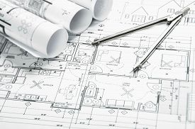 pic of sketche  - Construction blueprints planning drawings on the worktable and architectural instruments - JPG
