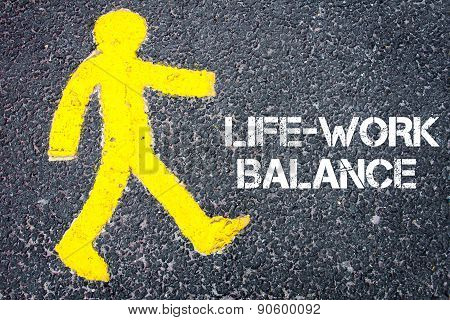 Pedestrian Figure Walking Towards Life Work Balance