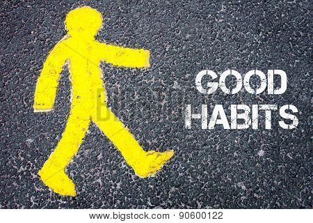 Yellow Pedestrian Figure Walking Towards Good Habits