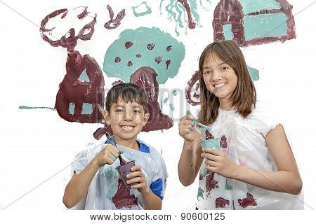 Boy And Girl Smiling Before Painting.