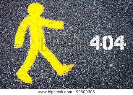 Yellow Pedestrian Figure Walking Towards 404 Error
