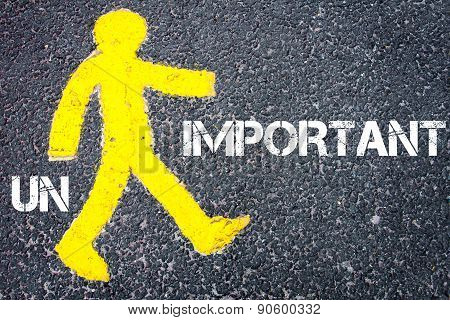 Yellow Pedestrian Figure Walking Towards Important