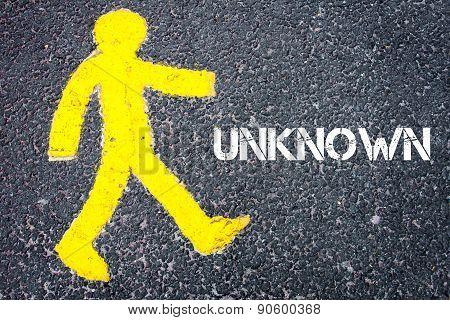 Yellow Pedestrian Figure Walking Towards Unknown