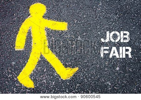 Yellow Pedestrian Figure Walking Towards Job Fair