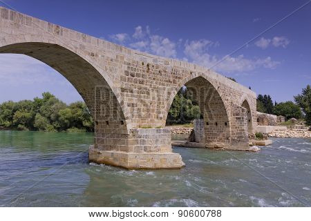 Eurymedon Rocky Bridge Over The River Near Aspendos, Pamphylia, Turkey