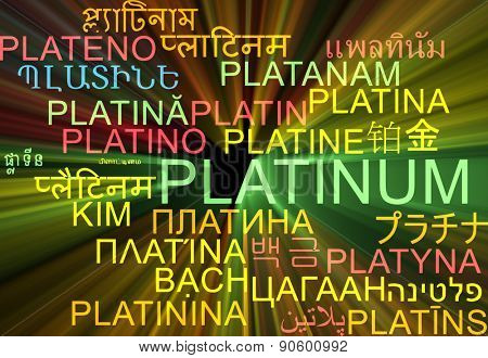 Background concept wordcloud multilanguage international many language illustration of platinum glowing light