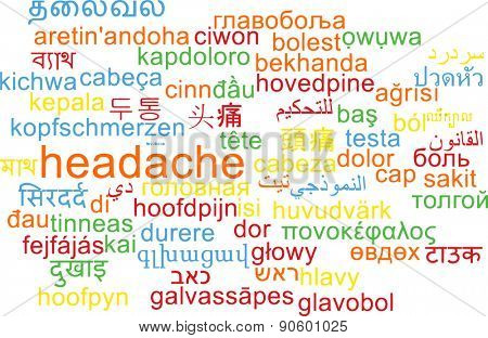 Background concept wordcloud multilanguage international many language illustration of headache