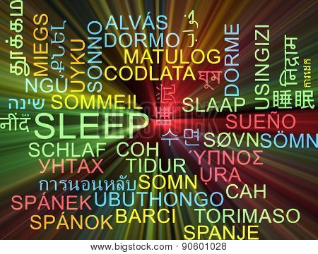 Background concept wordcloud multilanguage international many language illustration of sleep glowing light