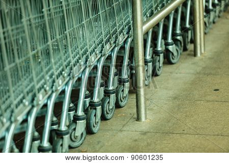 Row Of Shopping Cart Trolley Outdoor