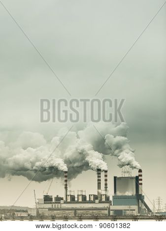 Smoke From Chimney Of Power Plant Or Station. Industry