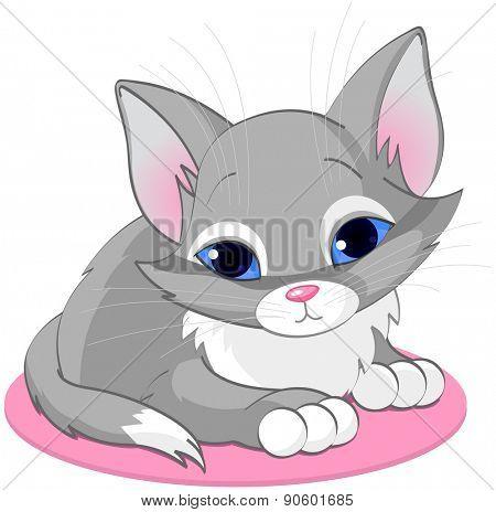 Illustration of sitting cute gray kitten