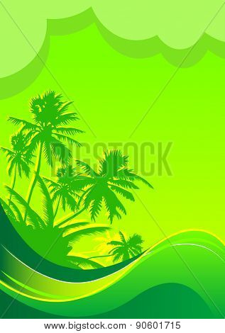 Summer themed beach illustration banner with place for text