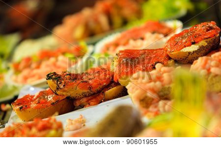 Seafood Sandwiches At The Fish Market In Bergen, Norway