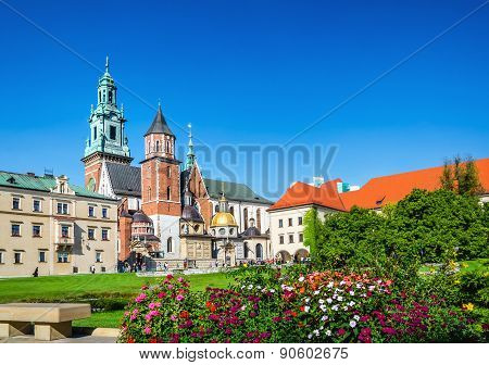 Wawel Castle and cathedral square Krakow, Poland