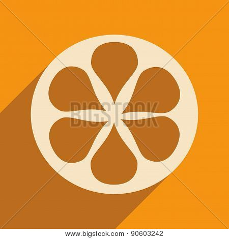 Flat with shadow icon and mobile applacation orange