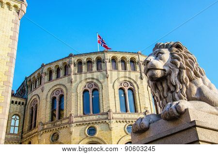 Norwegian Parliament Stortinget in Oslo, Norway