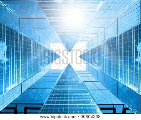 Architectural composition made of corporative buildings. Abstract business background