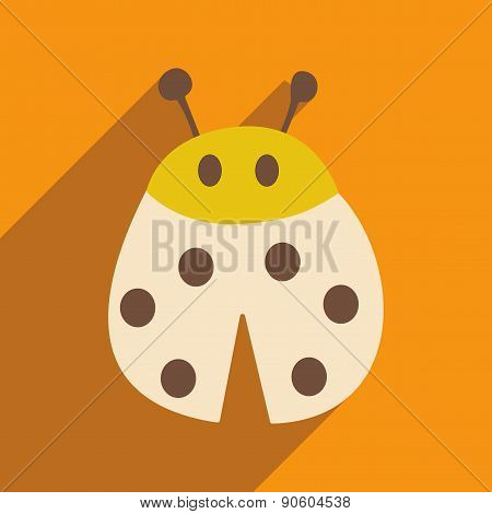 Flat with shadow icon and mobile applacation ladybug