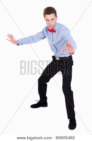 Referee suit and tie butterfly separates boxers. Isolated over white background. The guy in the bow tie put his hands in a protective pose