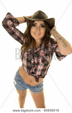 Cowgirl With Tattoo And Hat High View
