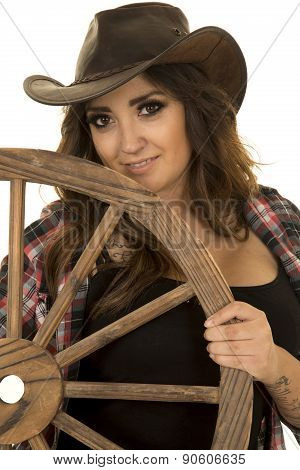 Cowgirl With Tattoos Wagon Wheel Look Smile