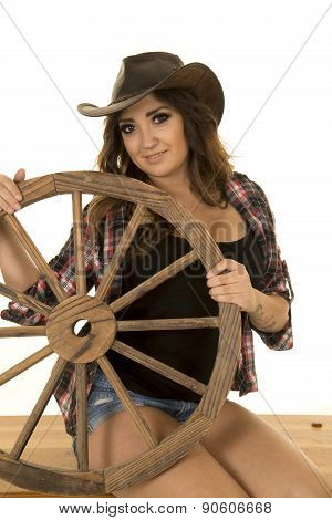 Cowgirl With Tattoo Wagon Wheel Sit Smile