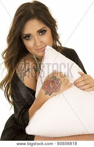 Woman In Black Nightgown With Tattoo Sit With Pillow Smile