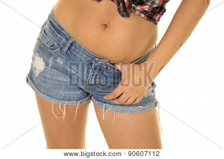 Woman In Denim Shorts Up Close Hand