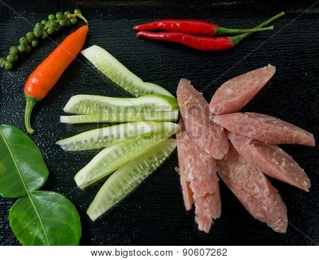Thai Sour Sausage With Chillies And Cucumber