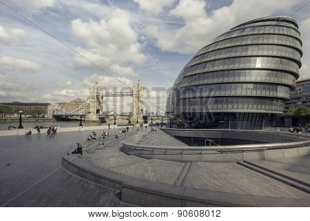 London,England - May 11,2015 : View of City Hall, The building has an unusual, bulbous shape intended to reduce its surface area and thus improve energy efficiency.