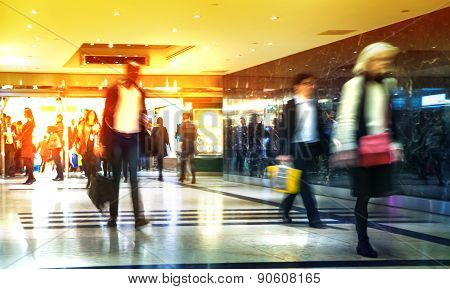 LONDON, UK - MARCH 31, 2015: Business people moving blur. People walking in rush hour. Business and